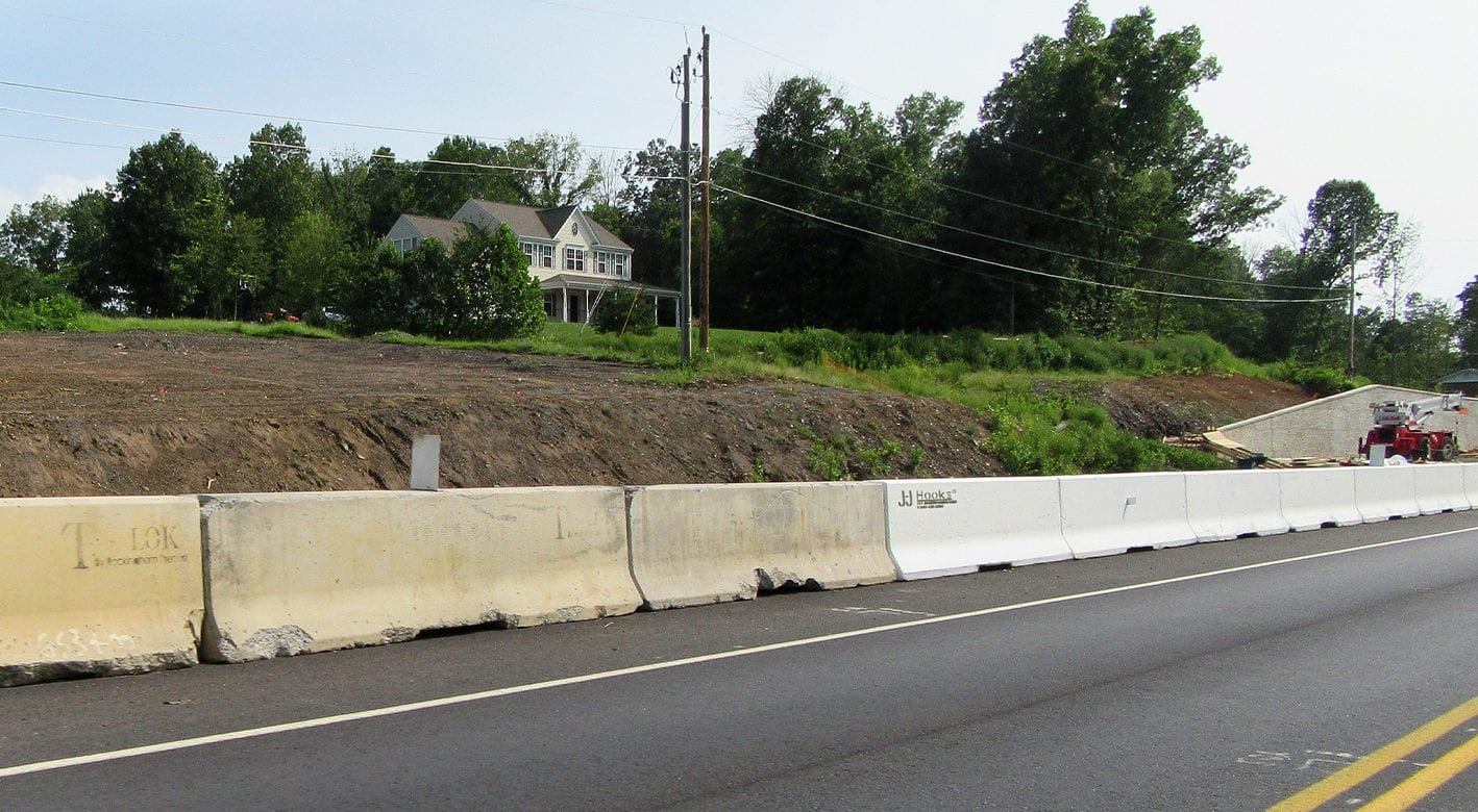 J-J hooks used as barriers to keep traffic from construction areas