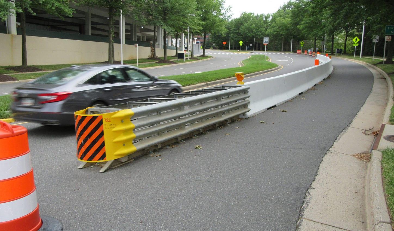 Safety barrier on Tysons Corner